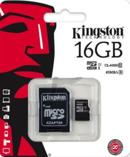 KINGSTON MicroSDHC 16Gb + adaptér